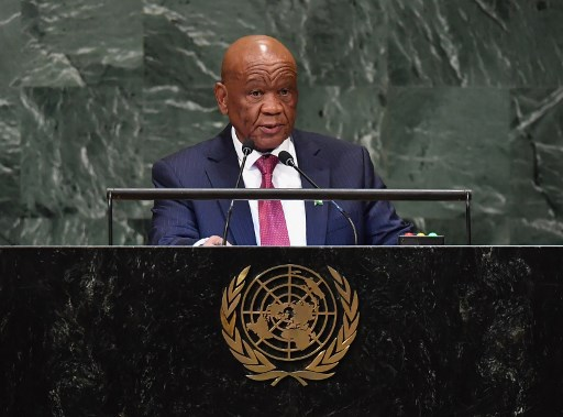 (FILES) In this file photograph taken on September 28, 2018, Lesotho Prime Minister Thomas Motsoahae Thabane addresses the 73rd session of the General Assembly at the United Nations in New York. The head of Lesotho's ruling party on April 29, 2020, has rejected Prime Minister Thomas Thabane's demands for immunity from prosecution in a murder case that has gripped the southern African mountain kingdom. In power since 2017, the octogenarian leader faces mounting calls to leave office from rivals within his ruling party and opposition groups over allegations he had a hand in the murder of his estranged wife three years ago.  Angela Weiss / AFP