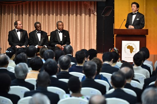 Prime Minister Abe at a TICAD IV Event in Tokyo last year with African leaders