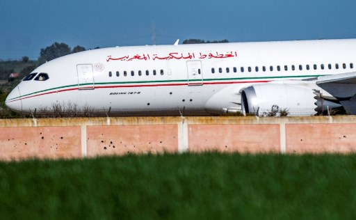 A Royal Air Maroc Boeing 787-8 Dreamliner lands at Morocco's Ben Slimane Airport on February 2, 2020, reportedly carrying repatriated Moroccan citizens from Wuhan, China, after the city was locked down to contain the COVID-19 outbreak. (Fadel Senna/AFP)
