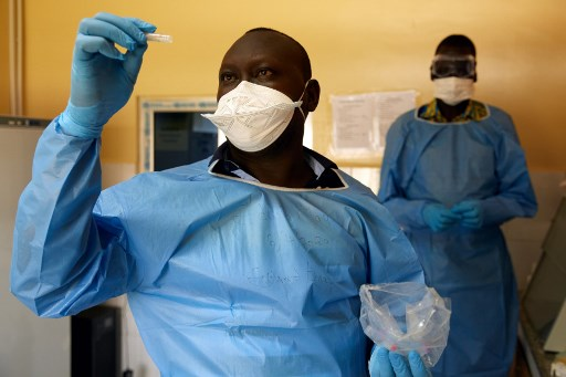 Lab technician tests samples for COVID-19 in a laboratory in Juba, South Sudan on April 6, 2020. South Sudan reported its first coronavirus case on Sunday, one of the last African nations to confirm the presence of COVID-19 within its borders.