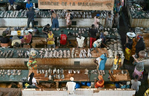 A fish market in the Ivory Coast