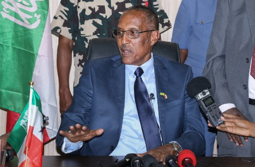 Muse Bihi Abdi, president of Somaliland, photographed at a press conference in Hargeisa on November 21, 2017. (AFP via Getty Images)