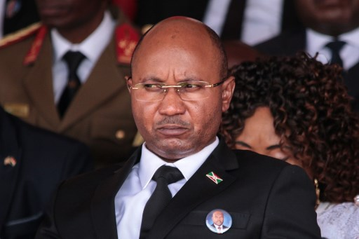 Burundi's new prime minister Alain-Guillaume Bunyoni attends the national funeral of late Burundi President Pierre Nkurunziza, who died at the age of 55, at the Ingoma stadium in Gitega, Burundi, on June 26, 2020.  TCHANDROU NITANGA / AFP