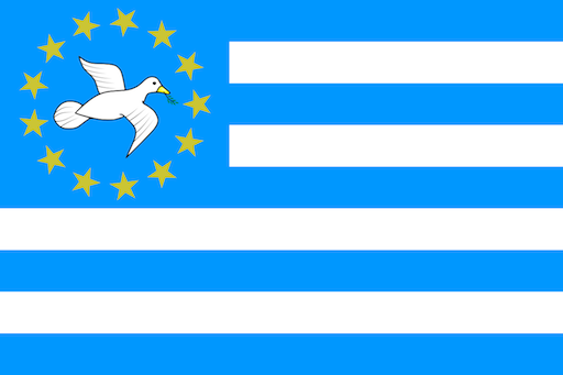 The flag designed by the Southern Cameroons National Council, which supports independence for Cameroon's Anglophone regions, features a dove with an olive branch in its beak and thirteen stars representing thirteen counties, or divisions.