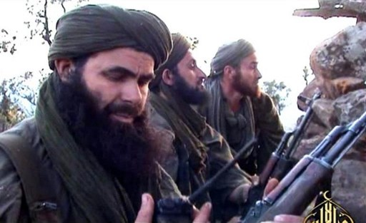 In this undated handout file photo released by Al-Andalus on May 23, 2012 shows Abdelmalek Droukdel, aka Abu Musab Abdul Wadud, a leader of Al-Qaeda in the Islamic Maghreb (AQIM), with his fighters in Azawad, an unrecognized state in northern Mali. Al-Qaeda in the Islamic Maghreb (AQIM) chief Abdelmalek Droukdel was killed on June 5, 2020 in Mali. Al-Andalus / AFP
