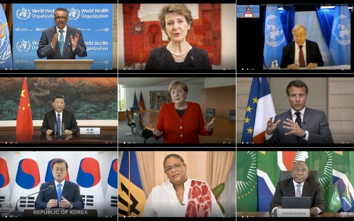 This combination created of nine video grabs taken on May 18, 2020 from the website of the World Health Organization shows (top to bottom, LtoR) WHO Director-General Tedros Adhanom Ghebreyesus, Swiss President Simonetta Sommaruga, UN Secretary-General Antonio Guterres, Chinese President Xi Jinping, German Chancellor Angela Merkel, French President Emmanuel Macron, South Korean President Moon Jae-in, Barbados Prime Minister Mia Mottley and South African President Cyril Ramaphosa delivering their speech via video link at the opening of the World Health Assembly virtual meeting from the WHO headquarters in Geneva, amid the COVID-19 pandemic, caused by the novel coronavirus. The World Health Organization on May 18 kicked off its first ever virtual assembly, but fears abound that US-China tensions could derail the strong action needed to address the COVID-19 crisis.