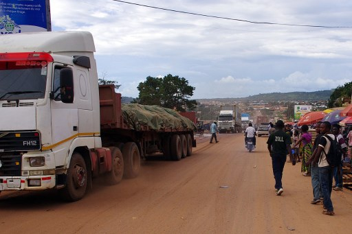 This picture taken on February 13, 2014 shows lorries blocked in Kasumbalesa, a Congolese town at the border between the Democratic Republic of Congo (DRC) and Zambia. After border incidents on February 6, the traffic has been heavily disrupted for more than a week in this town which is the main exit gate for minerals extracted in the South-Eastern part of the DRC